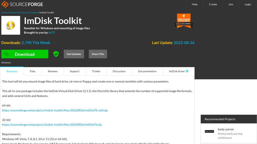 ImDisk Toolkit Landing Page