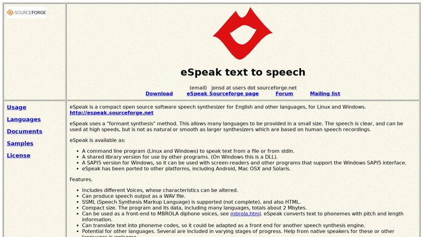 eSpeak Landing Page