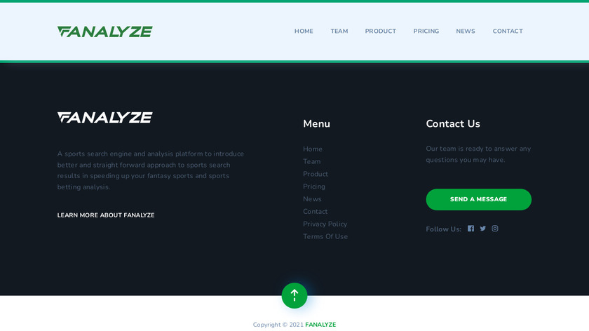 Fanalyze Landing Page