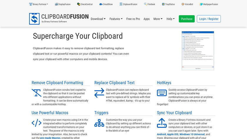 ClipboardFusion Landing Page