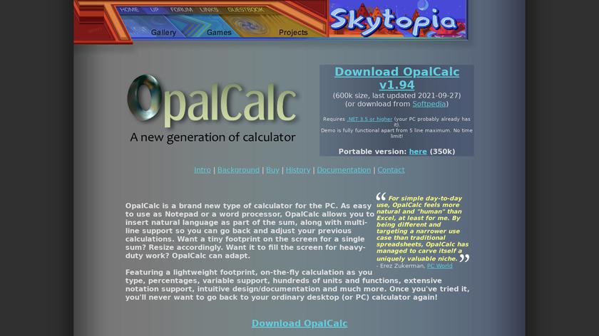 OpalCalc Landing Page