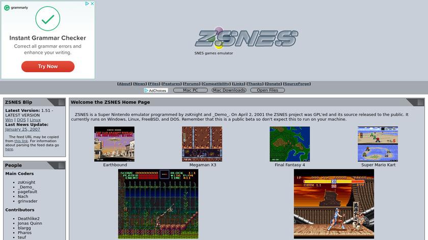 ZSNES Landing Page