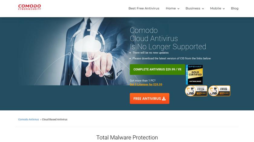 Comodo Cloud Antivirus Landing Page