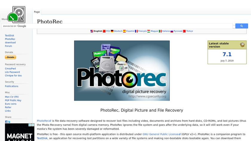 PhotoRec Landing Page
