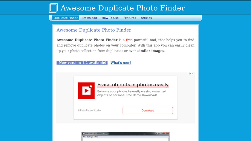 Awesome Duplicate Photo Finder Landing Page