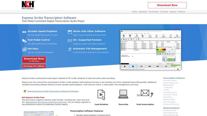 Express Scribe Landing Page