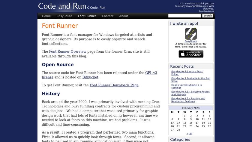 Font Runner Landing Page