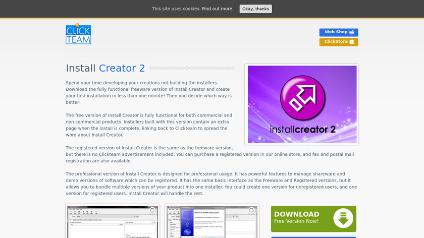 ClickTeam Install Creator Landing Page