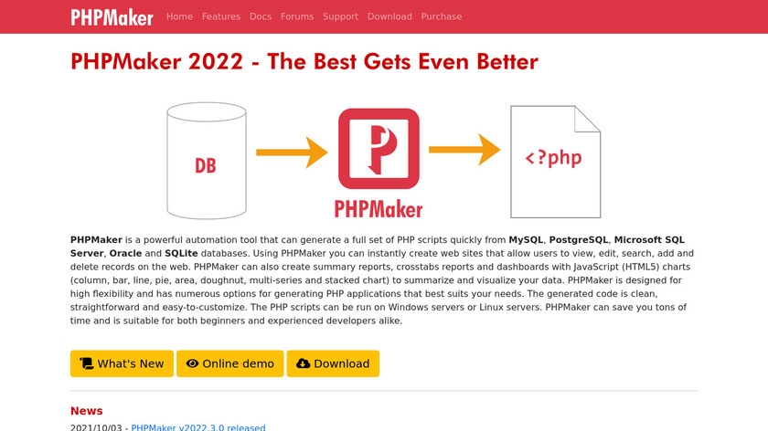 PHPmaker Landing Page