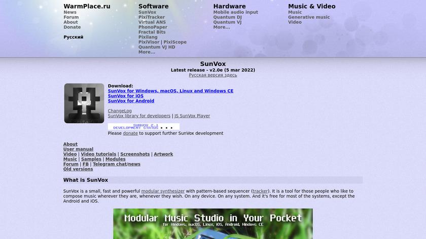 SunVox Landing Page
