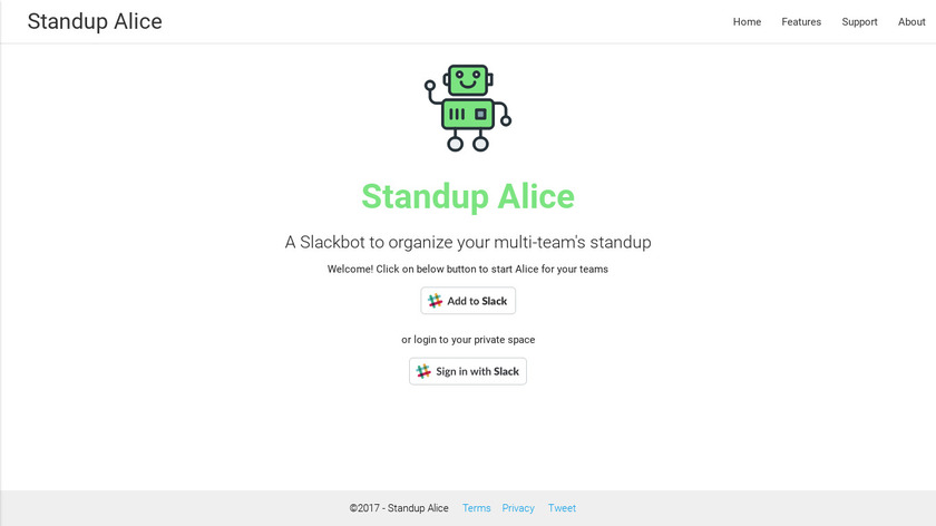 Standup Alice Landing Page