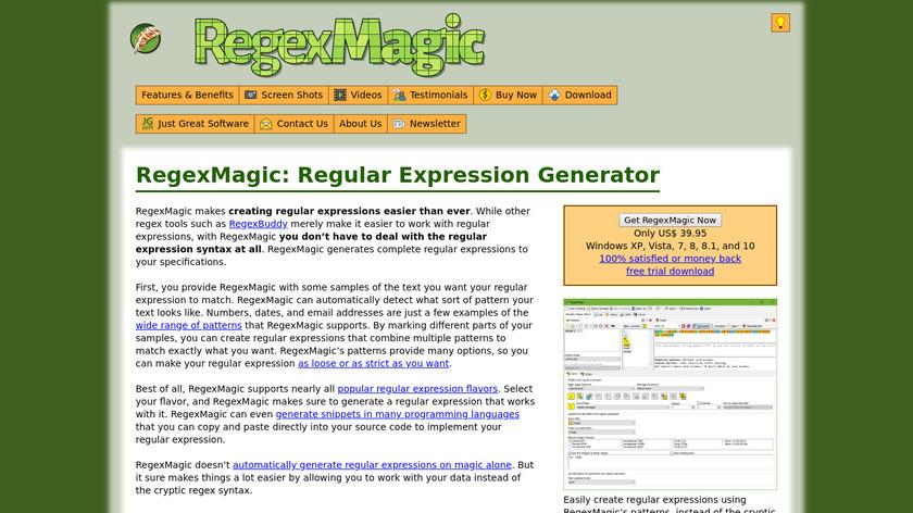 RegexMagic Landing Page