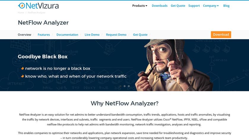 NetVizura NetFlow Analyzer Landing Page
