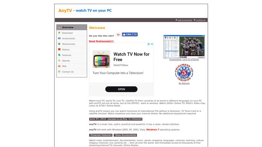 anyTV Landing Page