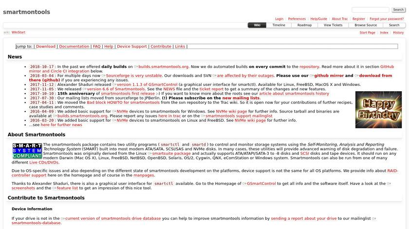 smartmontools Landing Page