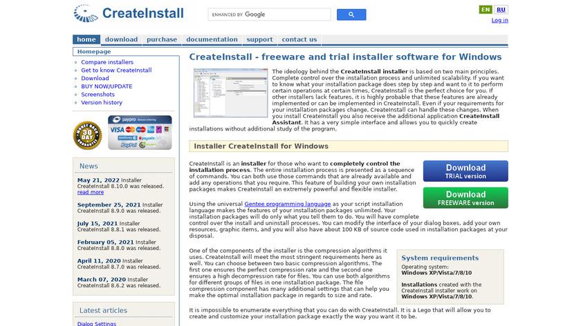 CreateInstall Landing Page