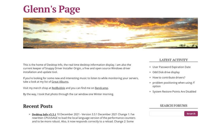 Desktop Info Landing Page
