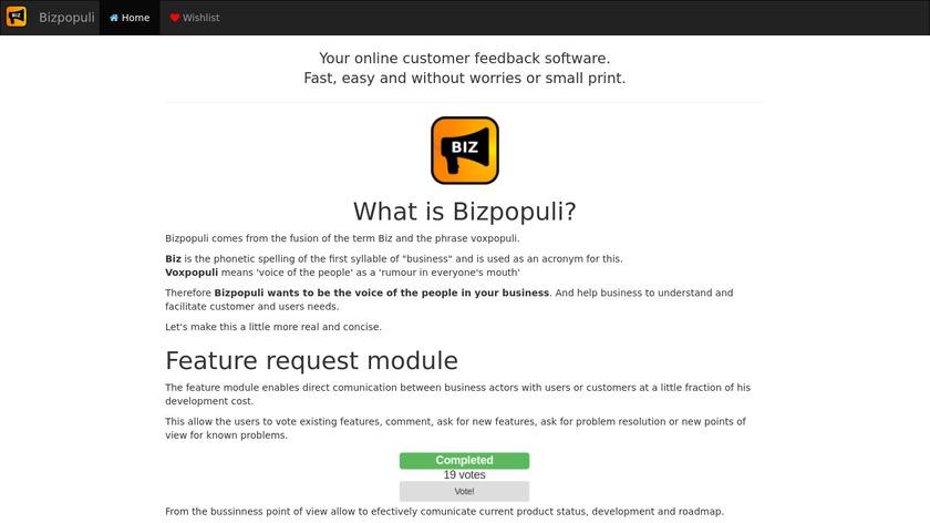 Bizpopuli Landing Page