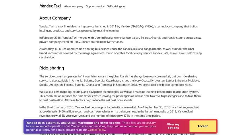 Yandex.Taxi Landing Page