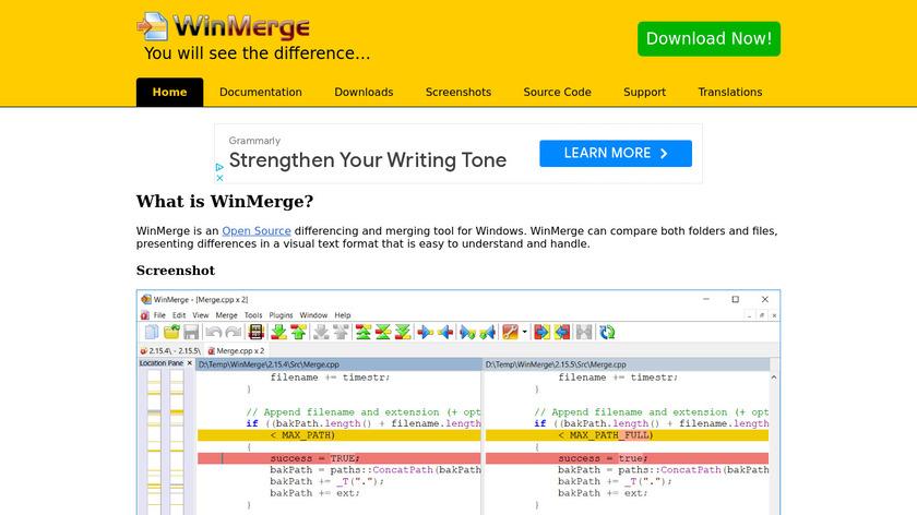 WinMerge Landing Page