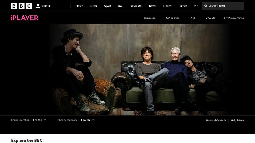 BBC iPlayer Landing Page