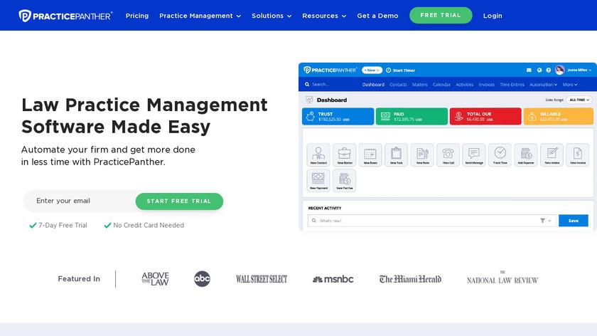 PracticePanther Landing Page