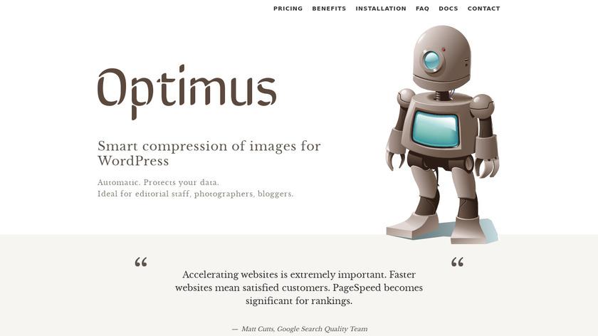 Optimus.io Landing Page