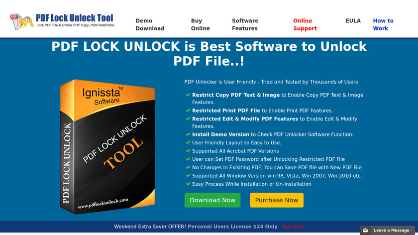 Ignissta PDF Lock Unlock Landing Page