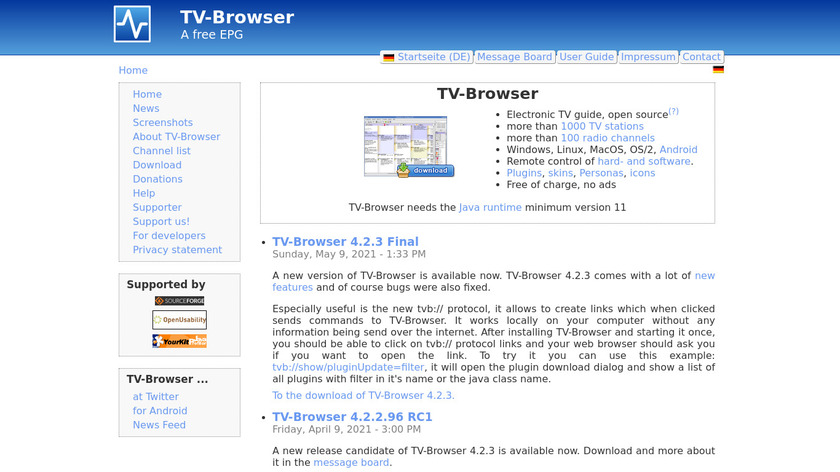 TV-Browser Landing Page