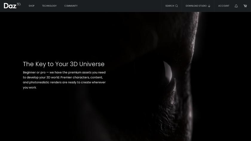 DAZ 3D Landing Page