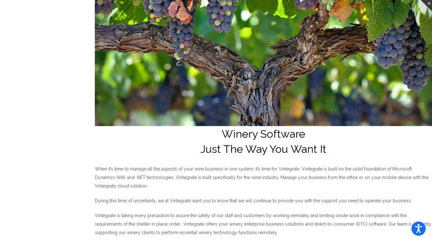 Vintegrate Winemaking Landing Page