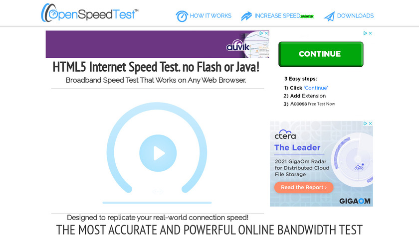 OpenSpeedTest Landing Page