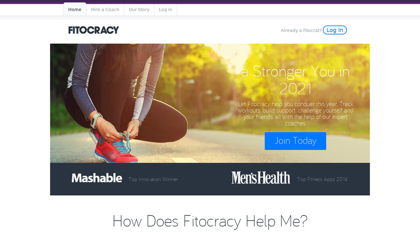 Fitocracy Landing Page