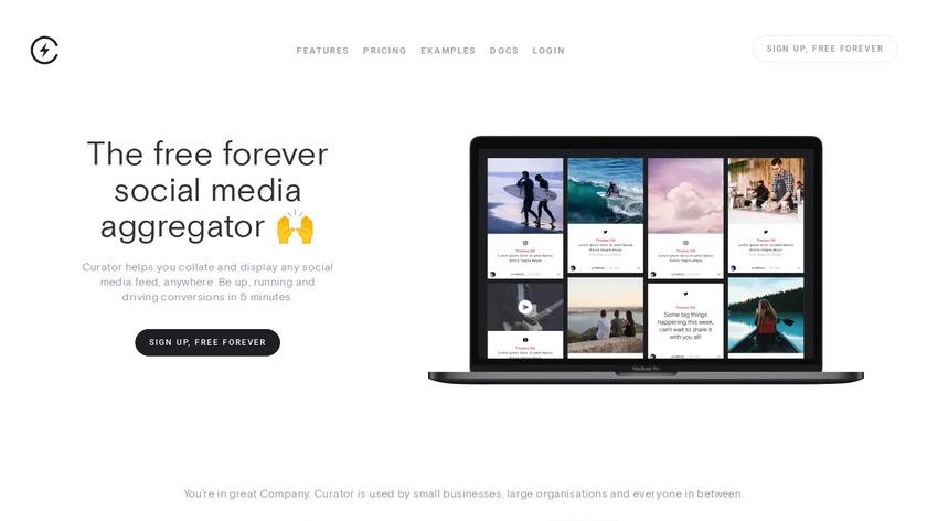 Curator.io Landing Page