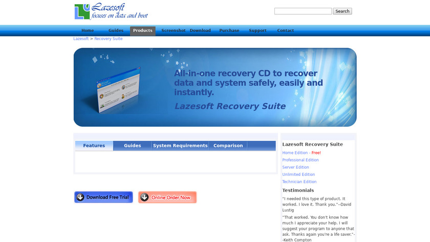 Lazesoft Recovery Suite Landing Page