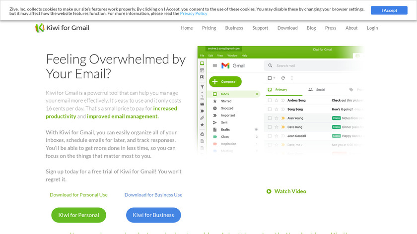Kiwi for Gmail Landing Page