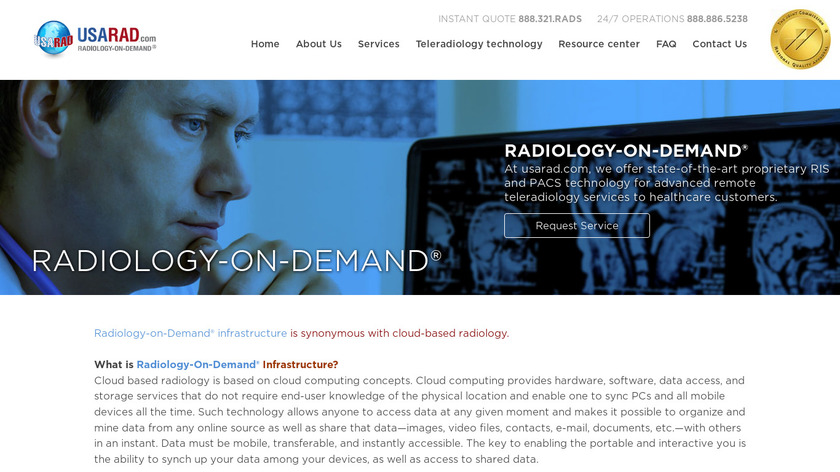 Radiology-On-Demand Landing Page