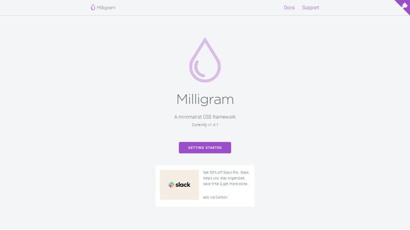 Milligram Landing Page