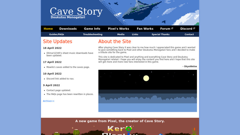 Cave Story Landing Page