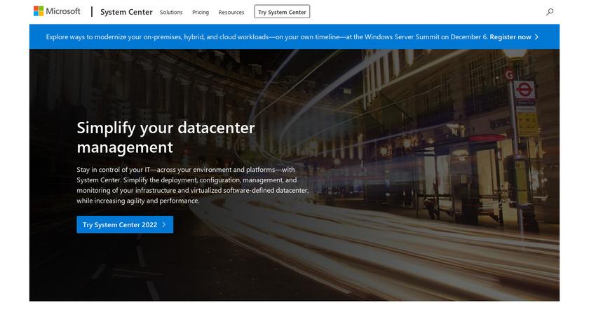 Microsoft System Center Landing Page