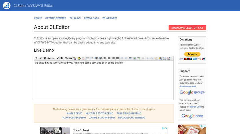 CLEditor Landing Page