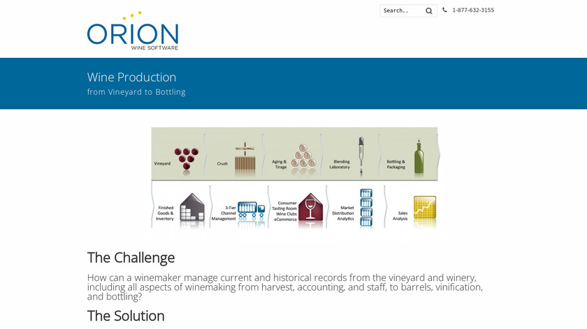 Orion Wine Software Landing Page