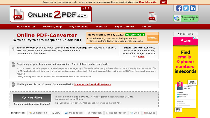 online2pdf.com Landing Page