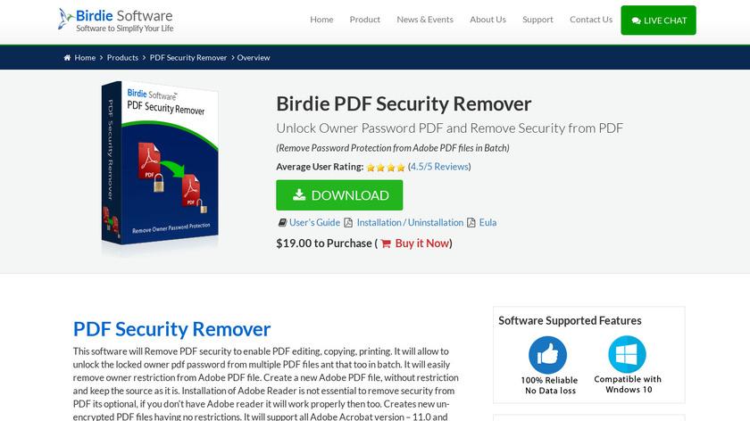 Birdie PDF Security Remover Landing Page