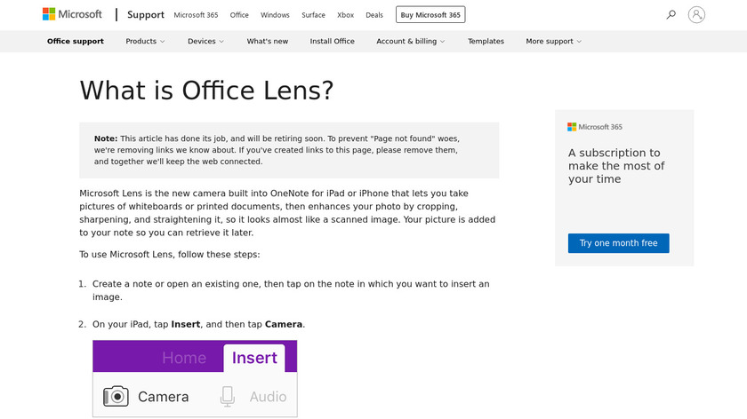 Office Lens Landing Page