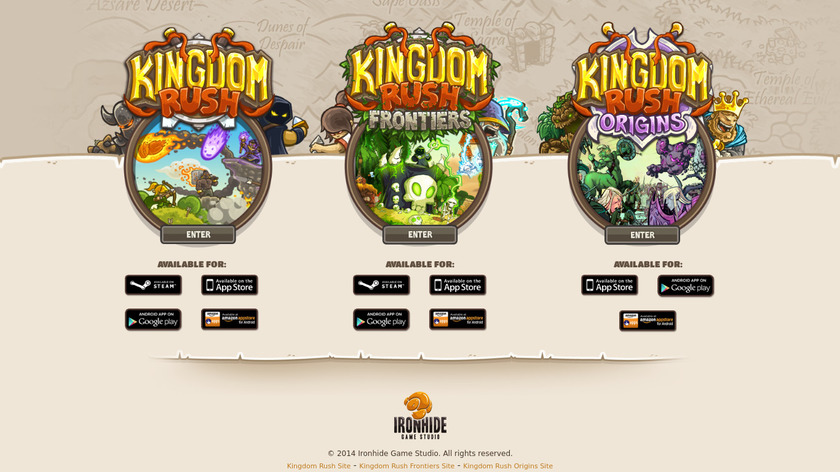 Kingdom Rush Landing Page