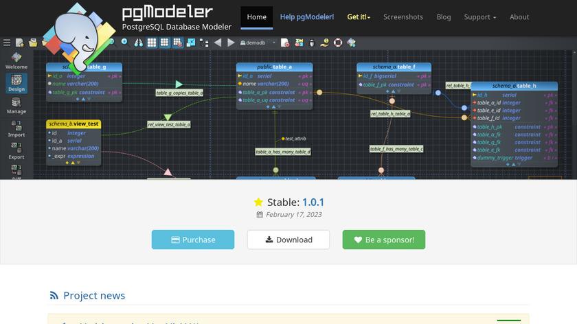 pgModeler Landing Page