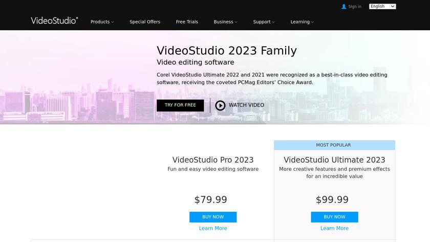 Corel VideoStudio Landing Page