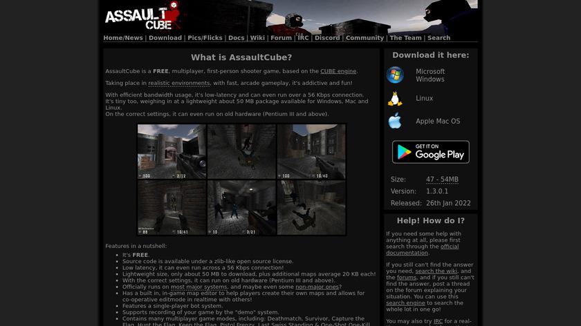 AssaultCube Landing Page