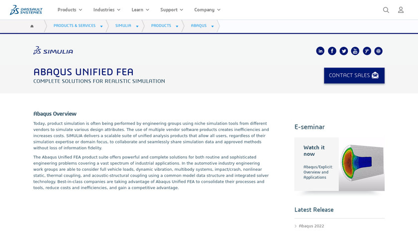 Abaqus Unified FEA Landing Page